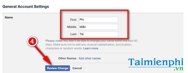 Đổi thông tin trên Facebook, tên, ngày sinh