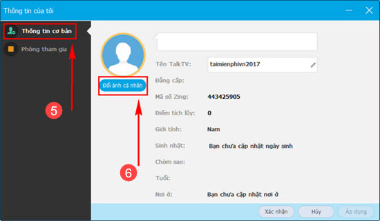 Đổi ảnh đại diện, thay ảnh avatar trên Talktv