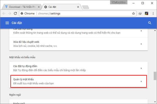 Quản lý mật khẩu lưu trên trình duyệt Google Chrome, xem lại mật khẩu đã lưu