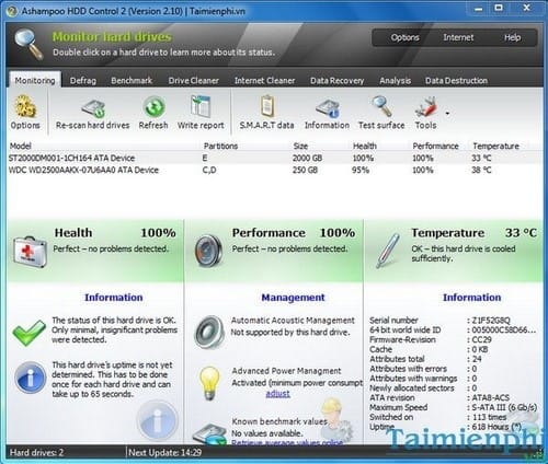 (Giveaway) Đăng ký bản quyền Ashampoo HDD Control 2, giám sát hệ thống