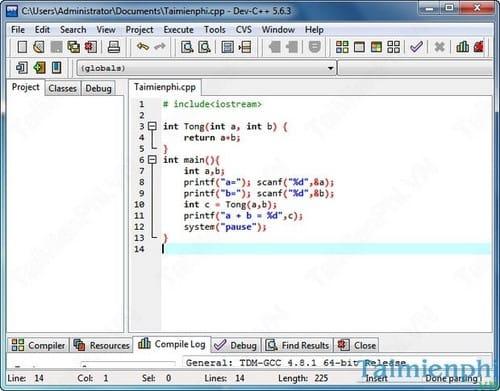 Bloodshed Dev C++ - Hướng dẫn thực thi, biên dịch