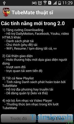 tai video youtube tren android bang Tubemate