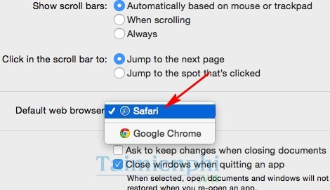 Thiết lập chế độ mặc định của trình duyệt trên Mac OS X Yosemite