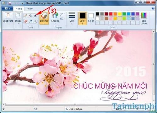 Tạo thiệp chúc mừng năm mới 2015, xuân Ất Mùi đơn giản với Paint