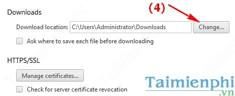 Web Freer - Thay đổi thư mục chứa file Download
