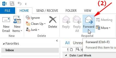 Forward nhiều Email tới một địa chỉ trên Outlook 2013