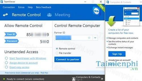 Cài Teamviewer 11 quản lý và kết nối máy tính từ xa