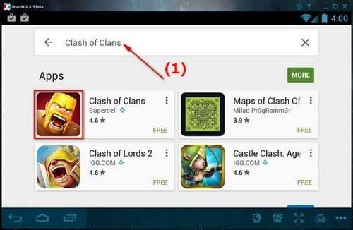 choi clash of clans tren may tinh bang droid4x