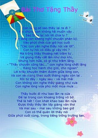 Thơ 20/11, những bài thơ 20 tháng 11 chúc mừng thầy cô giáo hay và ý nghĩa nhất 4
