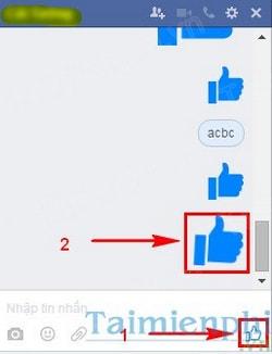 Tạo nút like to dần trong tin nhắn Facebook