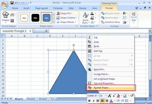 hướng dẫn vẽ tam giác đều bằng excel - bước 3