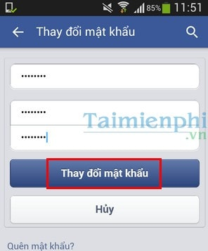 doi pass facebook tren dien thoai