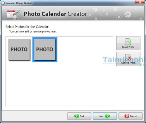 tao lich voi Photo Calendar Creator