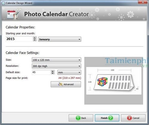thiet ke lich voi Photo Calendar Creator