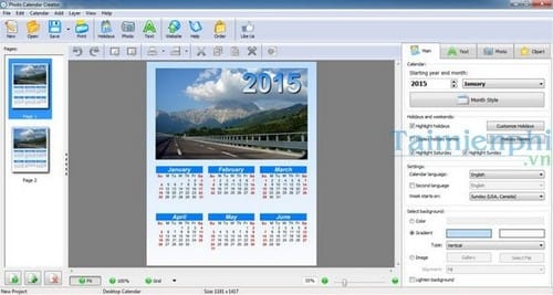 tao lich 2015 voi Photo Calendar Creator