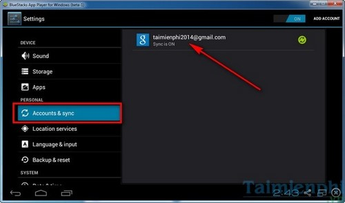 Change the account, gmail change in BlueStacks