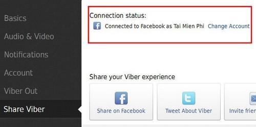 Ket noi viber tren laptop voi mang xa hoi facebook