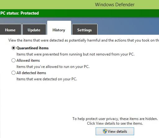 Use Microsoft Windows Defender in Windows 10