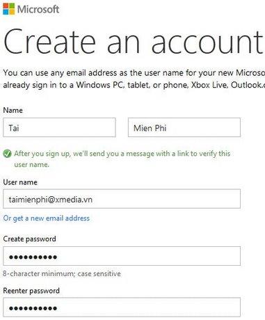 Lap tai khoan Microsoft.