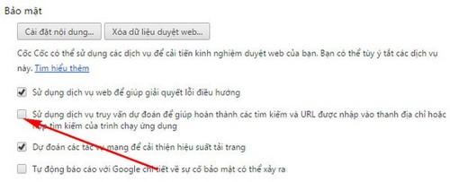 Xóa URL tự động gợi ý trên trình duyệt Cốc Cốc