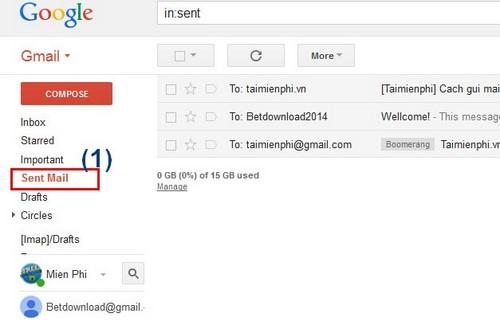 gmail dang nhap, xem email da gui trong gmail