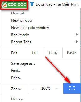 Duyệt web ở chế độ toàn màn hình, Full Screen trên Google Chrome và Cốc Cốc