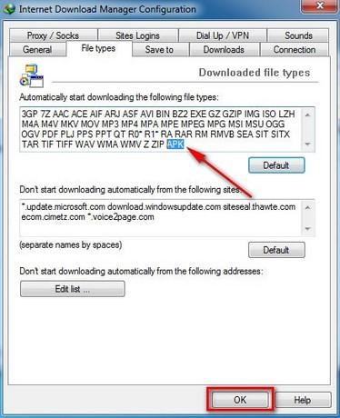 Khắc phục lỗi không tải được file *.APK bằng IDM