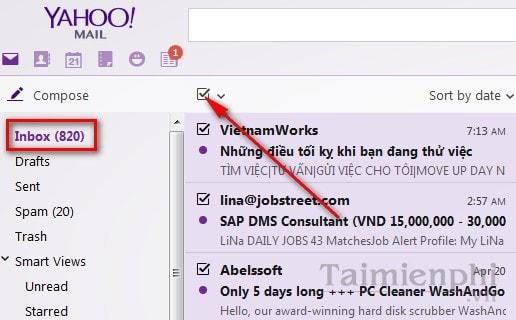 Cách xóa tất cả email trong Yahoo