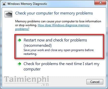 Kiểm tra Ram, check Ram trên máy tính bằng Windows Memory Diagnostic