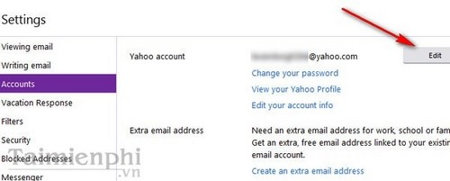 Đổi tên hiển thị người dùng email Yahoo
