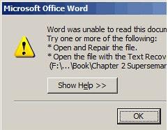 Khắc phục file word lỗi, không mở được file văn bản trên word