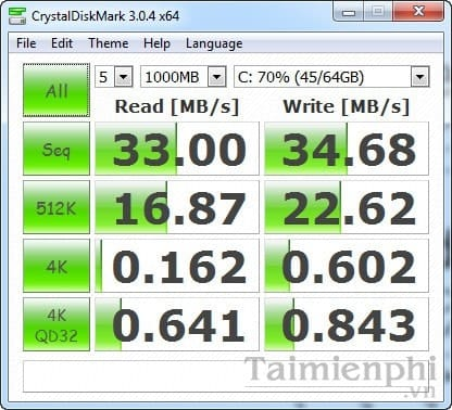 see the writing speed of hard disks with CrystalDiskMark