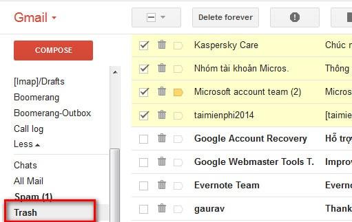 Cách khôi phục, lấy lại những email đã xóa trong Gmail