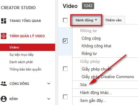 Cách xóa bỏ video vĩnh viễn, delete video trên YouTube 4