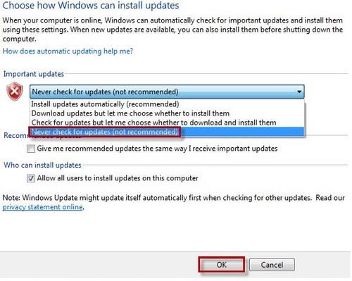 Tắt update Windows 7, cách chặn Win 7 không tự động cập nhật 3