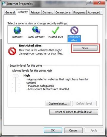 Chặn vào web đen trên trình duyệt IE