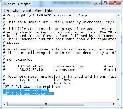 Chặn web đen bằng file Host