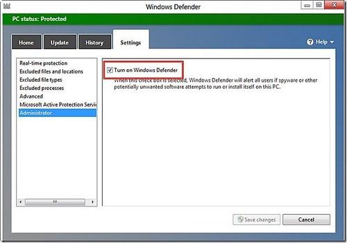 Cách bật/tắt Windows Defender win 8 8.1 6