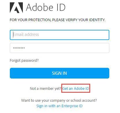 Đăng ký Adobe, tạo tài khoản Adobe