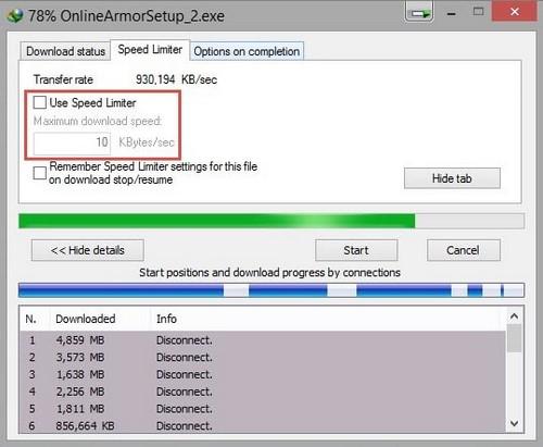 Giới hạn tốc độ IDM tải file trên Internet