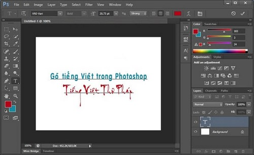 Gõ tiếng việt trong photoshop CS5 không lỗi font