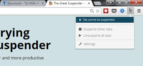 kiem soat google chrome an ram the great suspender
