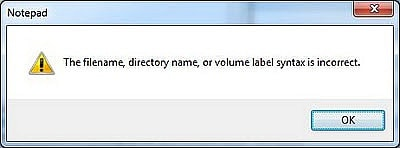 Lỗi The filename, directory name, or volume label syntax is incorrect