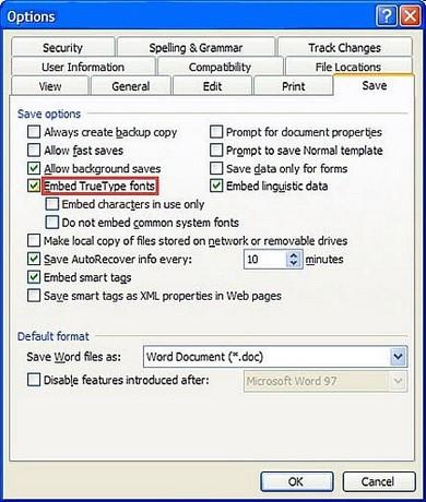 Lưu file word không lỗi font khi đọc ở máy tính khác