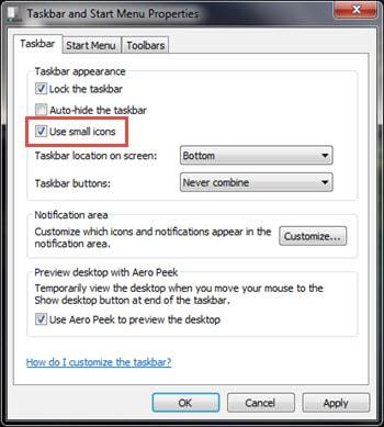 How to shrink the Taskbar icon on the status bar windows 7 XP