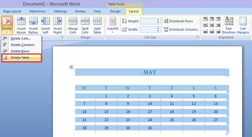 Cách xóa bảng trong word 2007 2010 2013 - Delete table
