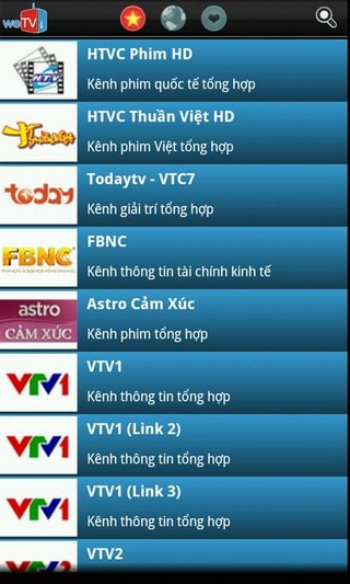 ung dung xem tv android, xem tivi android
