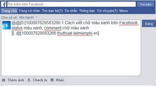 Cách viết chữ màu xanh trên Facebook, status màu xanh, comment chữ màu xanh