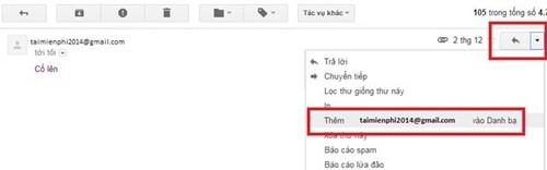 Bổ sung địa chỉ email mới vào danh bạ Gmail