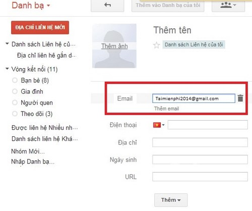 Additional new email address on Gmail contacts